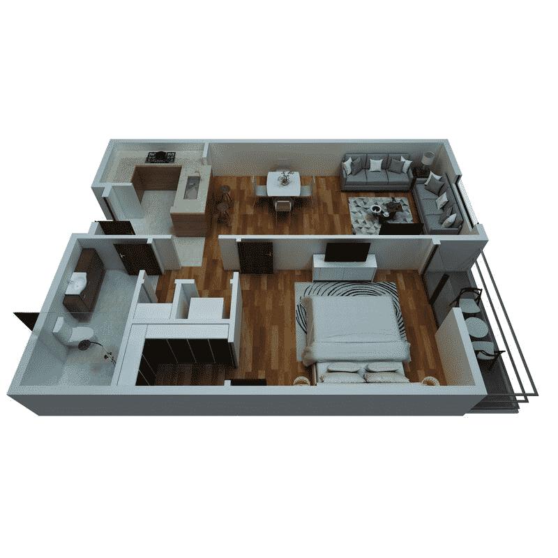 1 Bed, 1 Bath floor plans