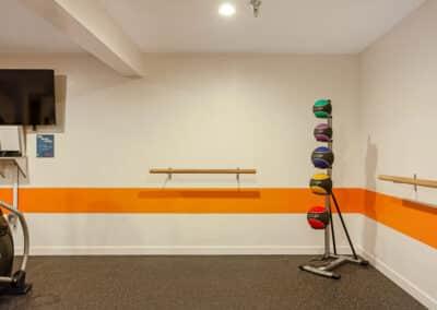 Core training area in apartment complex with medicine balls