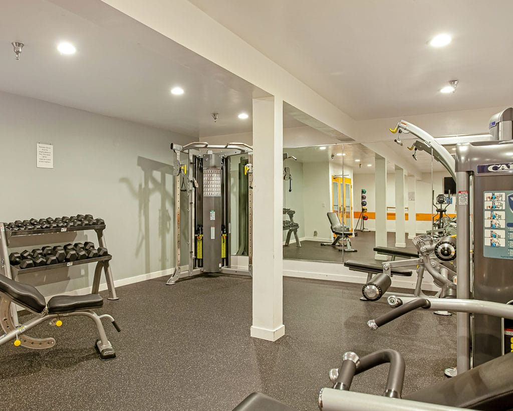 Fitness center with weights and equipment