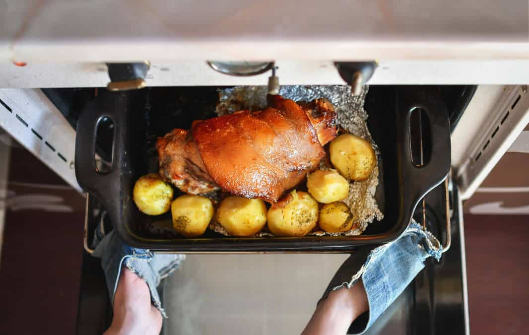 Roasted meat with potatoes from the oven